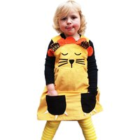 Cute Lion Design Claw-shaped Pockets Strap Dress for Baby and Toddler