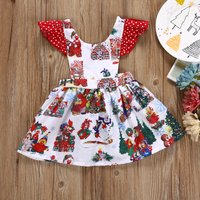 Lovely Christmas Scene Print Ruffle-sleeve Backless Dress