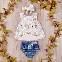 Sassy 3-pc Floral Sleeveless Vest, Denim Shorts and Headband for Baby