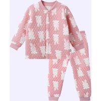 Warm Allover Rabbit Splice Layered Long-sleeve Top and Pants Pajamas