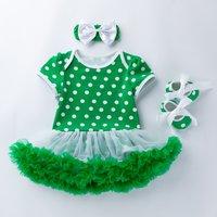 St. Patrick's Day 3-piece  Polka Dots Dress Bodysuit Headband Shoes Green