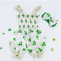 St. Patrick's Day Shamrock  One Piece Romper Jumpsuit and Headband Set