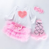 4-piece Valentine's Day Longsleeves Pink Heart Romper Bowknot Skirt