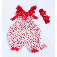 Valentine's Day Bowknot Lace 2-piece Bodysuit Romper Jumpsuit Headband Print Cute Set