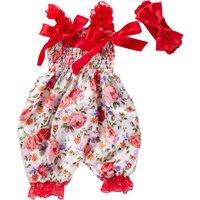 Baby Girls Floral Flower Print Lace Romper/Jumpsuit