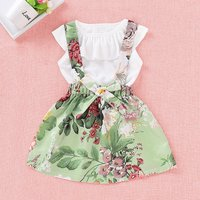 Ruffle Floral Strap Skirt Set
