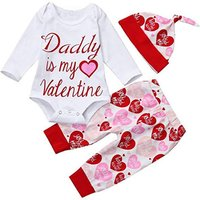 """Baby Girl  """"Daddy is My Valentine """" Bodysuit with Heart Pants and Hat Set"""