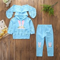 Girls Bunny Rabbit Floppy Ears Hooded Top and Pant Set