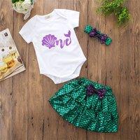 Stylish Mermaid Tee and Shell Skirt with Headband