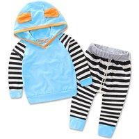 Striped  Hooded Top with Ears and Pants Set for Baby