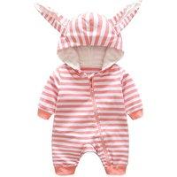 Rabbit Ears Hooded Striped Jumpsuit