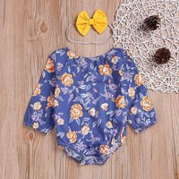 Floral Romper with Bow Headband