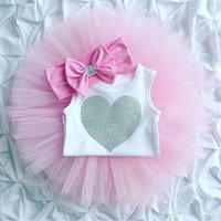 Heart Romper Tutu Skirt and Headband Set