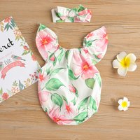 Pretty Floral Sleeveless Dress and Bodysuit for Baby