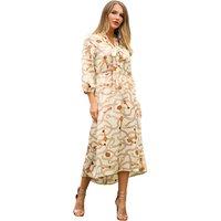 Creative Chain Print Tie Slit Casual Dress