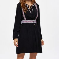 Embroidered Lace-up Casual Dress
