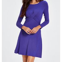 Solid Cross Pleated Casual Dress
