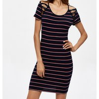 Striped Shoulder Cutout Bodycon Dress