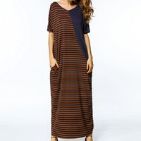 Striped Block Pockets Loose Maxi Dress