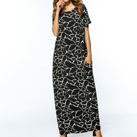 Crack Pattern Pockets Maxi Dress