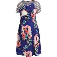 Flower Print Striped Maternity Nursing Dress