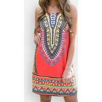 Patterns Sleeveless Retro Tribal Dress
