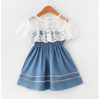 Ruffle Lace Stitch Denim Dress