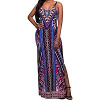 Tribal Multi-color Split Spaghetti Straps Maxi Dress
