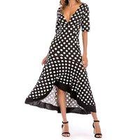 Polka Dots Deep V-neck Ruffle Dress