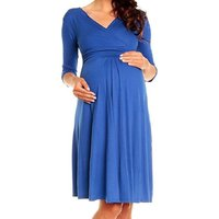 Maternity V Neck 3/4 Sleeve Dress