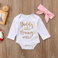 """Daddy's Girl - Mommy's World""  Toddlers Girl Gold Print Bodysuit with Headband"