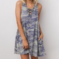 Camouflage Lace-up Sleeveless Casual Dress