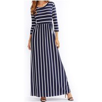 Striped Seven Sleeves Maxi Dress