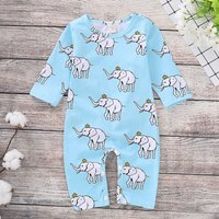 Allover Elephant Jumpsuit in Blue