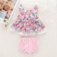 Ruffle Lace Trim Floral Outfit