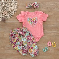 Floral Heart Applique Bodysuit Outfit
