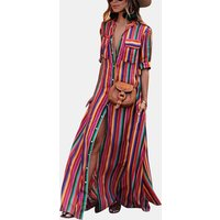 Colorful Striped Buttons Maxi Dress