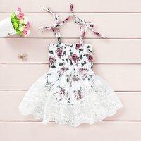 Self-Tie Floral Lace Romper Dress