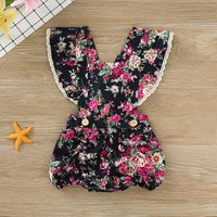 Ruffle Backless Floral Romper