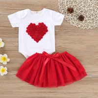 Rose Heart Applique Valentine's Outfit