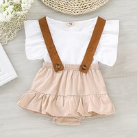 Ruffle Crop Top and Suspenders Shorts Set