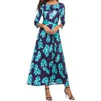 Flowers Print Waist Tie Maxi Dress