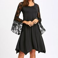 Lace Bell Sleeves Loose Casual Dress