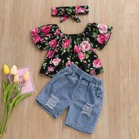 3-piece Off The Shoulder Floral Denim Outfit
