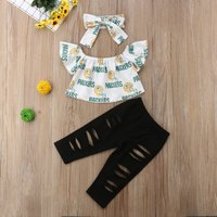 Baby/ Toddler Girl's Off Shoulder Top, Ribbed Pants and Bow Headband