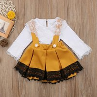 2-piece Lace Splice Solid Bodysuit and Bow Decor Crisscross Suspender Dress Set