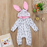 Stylish Allover Bunny Hooded Long-sleeve Jumpsuit for Baby