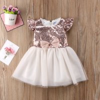 Fashionable Sequined Color Blocked Bow Decor Tulle Party Dress