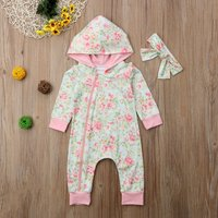 Pretty Allover Floral Hooded Jumpsuit and Headband for Baby