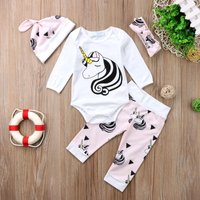 4-piece Pretty Unicorn Print Romper, Pants, Headband and Hat Set